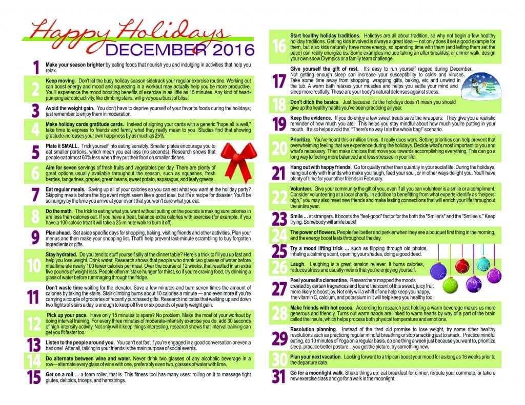 Wellness Calendar Ideas : Holiday health tips body zone sports and wellness complex